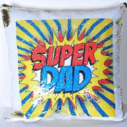 coussin sequin SUPER DAD